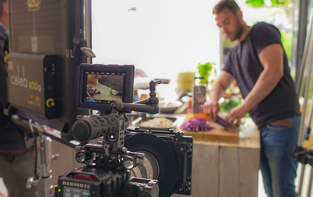 Showing Red camera filming a recipe being cooked